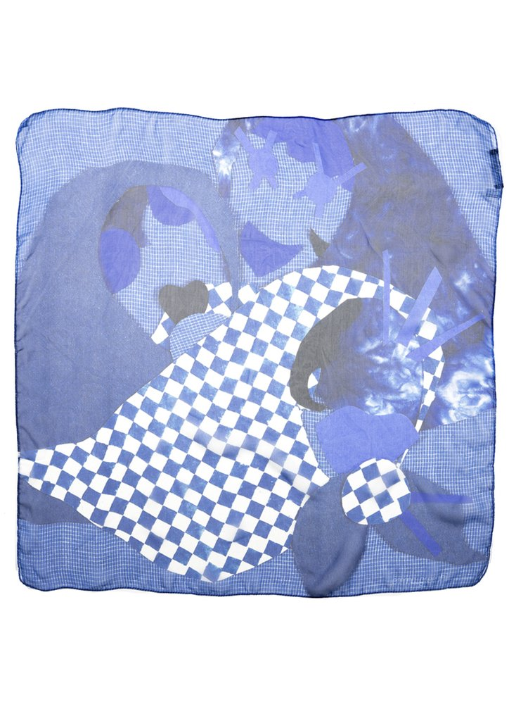 Sisters in Denim Blue Silk Chiffon Scarf