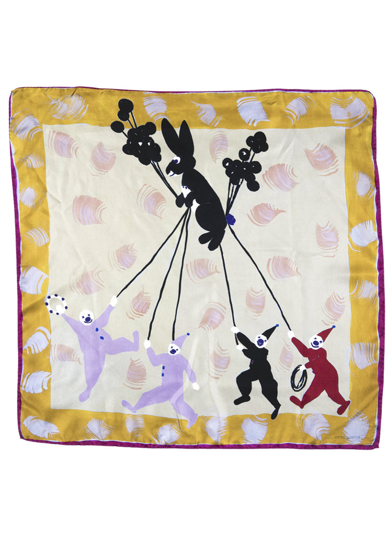 Clowns and rabbit kite patterned silk twill scarf