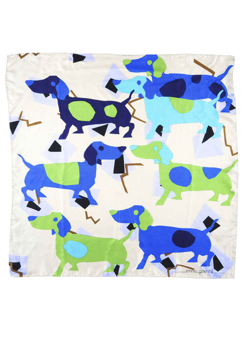 dog printed luxury silk scarf Emma Greenhill