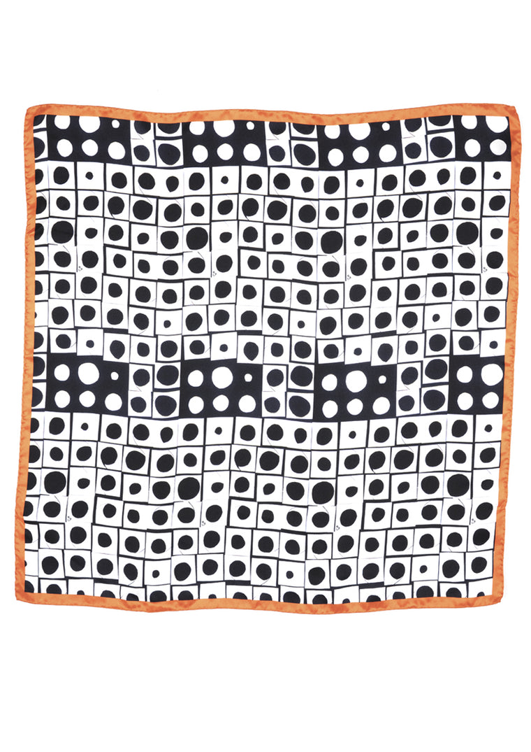 Contemporary black, white & orange patterned silk scarf
