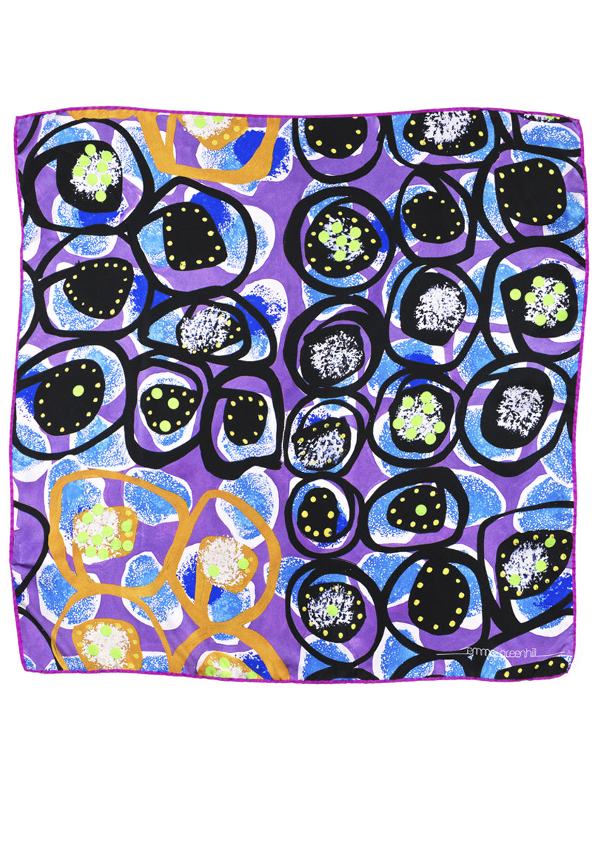 luxury, designer, patterned silk scarf Emma Greenhill
