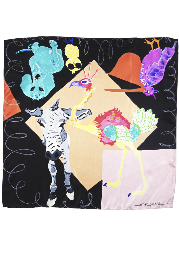 Animals print on black, silk twill scarf Emma Greenhill