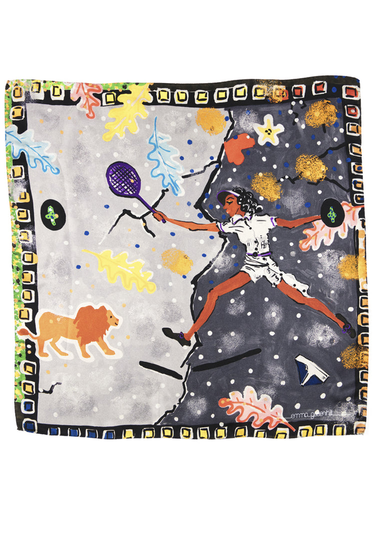 tennis player print, silk twill scarf Emma Greenhill