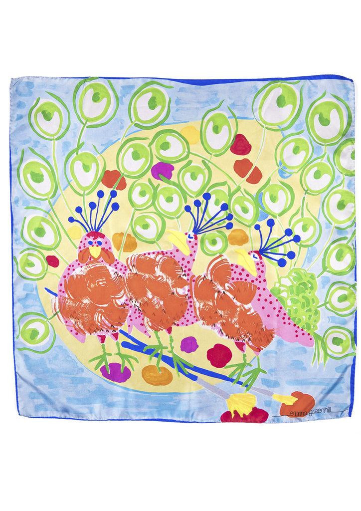 peacocks print, luxury silk twill scarf Emma Greenhill