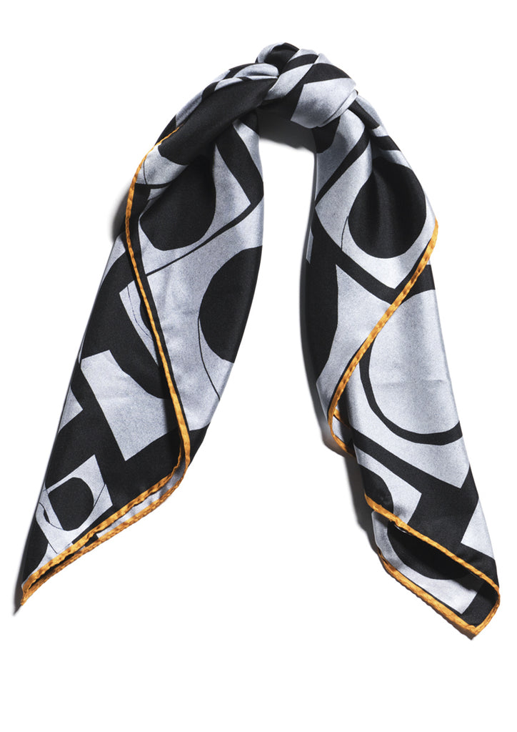 Patterned silk twill luxury scarf Emma Greenhill