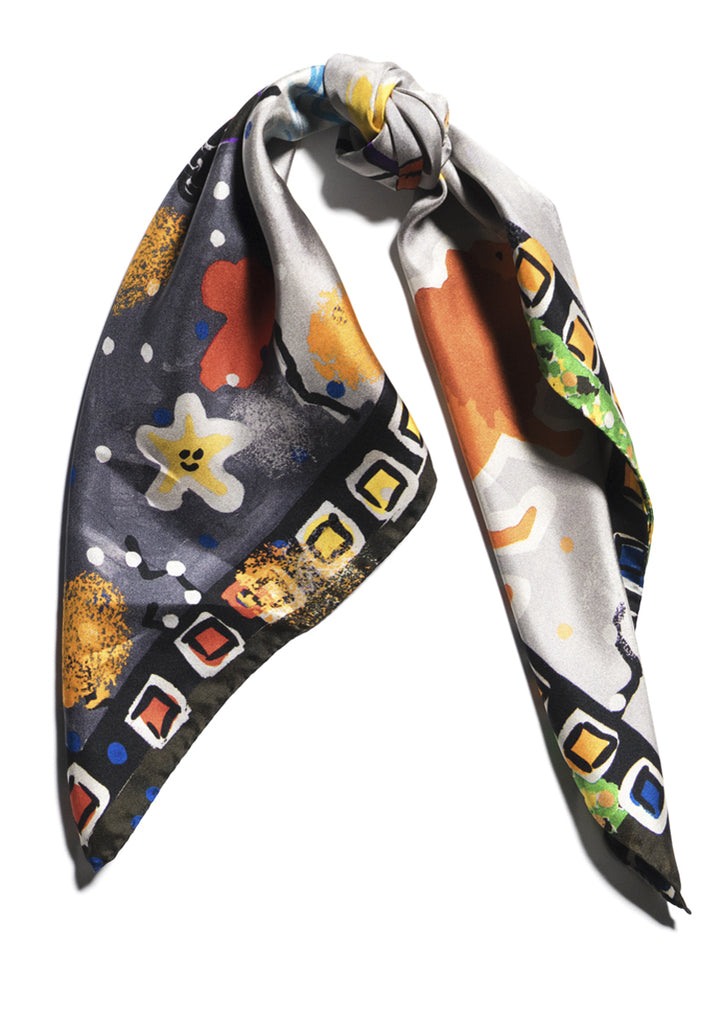 Bright tennis player printed luxury silk scarf