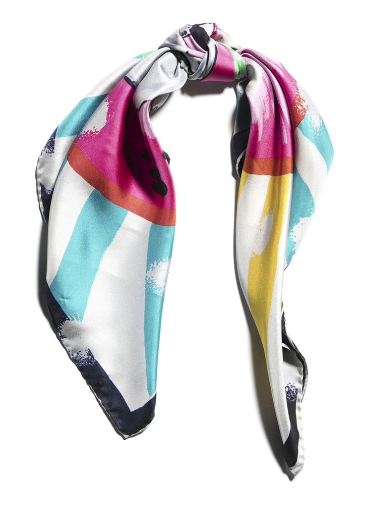 luxury patterned colourful silk scarf with hem roll edge