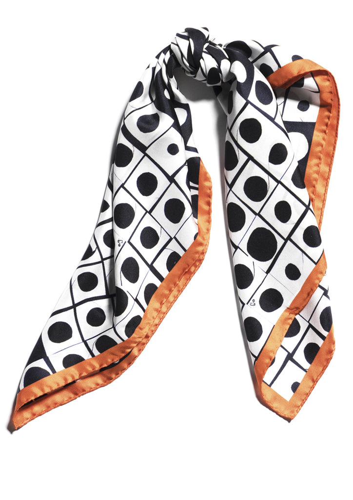 Black and white digital printed silk scarf Emma Greenhill