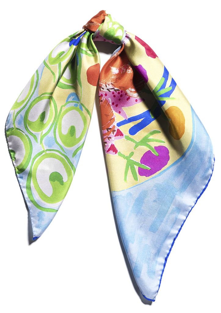 designer luxury peacock patterned silk twill scarf