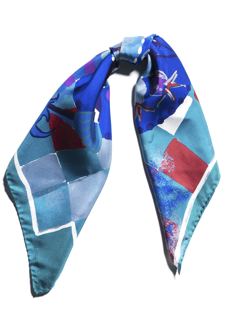 Joker printed, luxury silk twill scarf with hem roll edge
