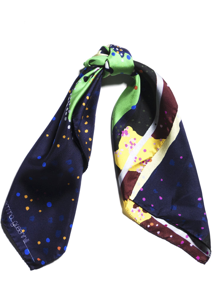 graphic patterned silk designer square scarf