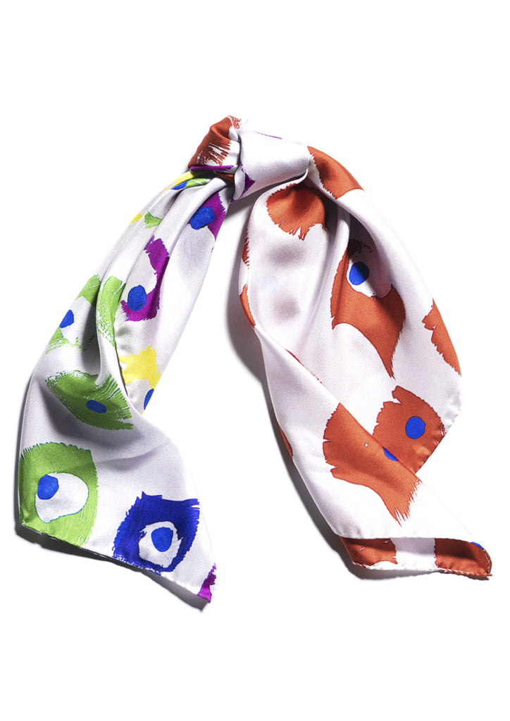 Rainbow colours print, luxury printed silk twill scarf