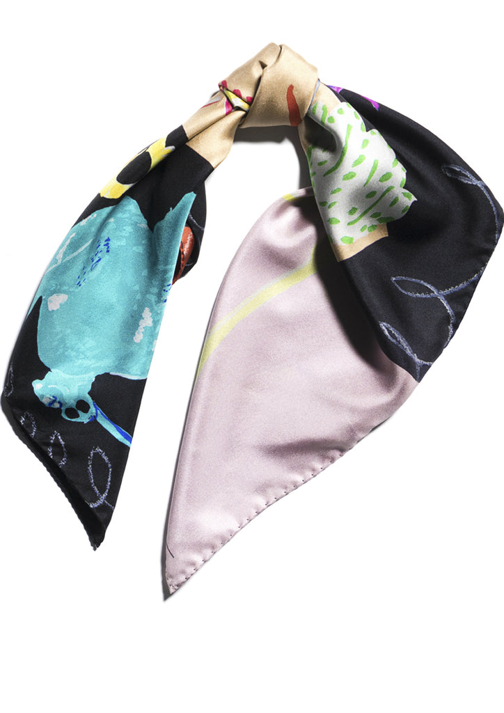 Animals and birds printed silk twill scarf Emma Greenhill