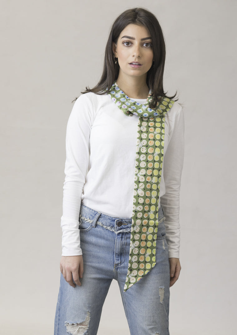 Olive 'All Eyes' Skinny Silk Scarf