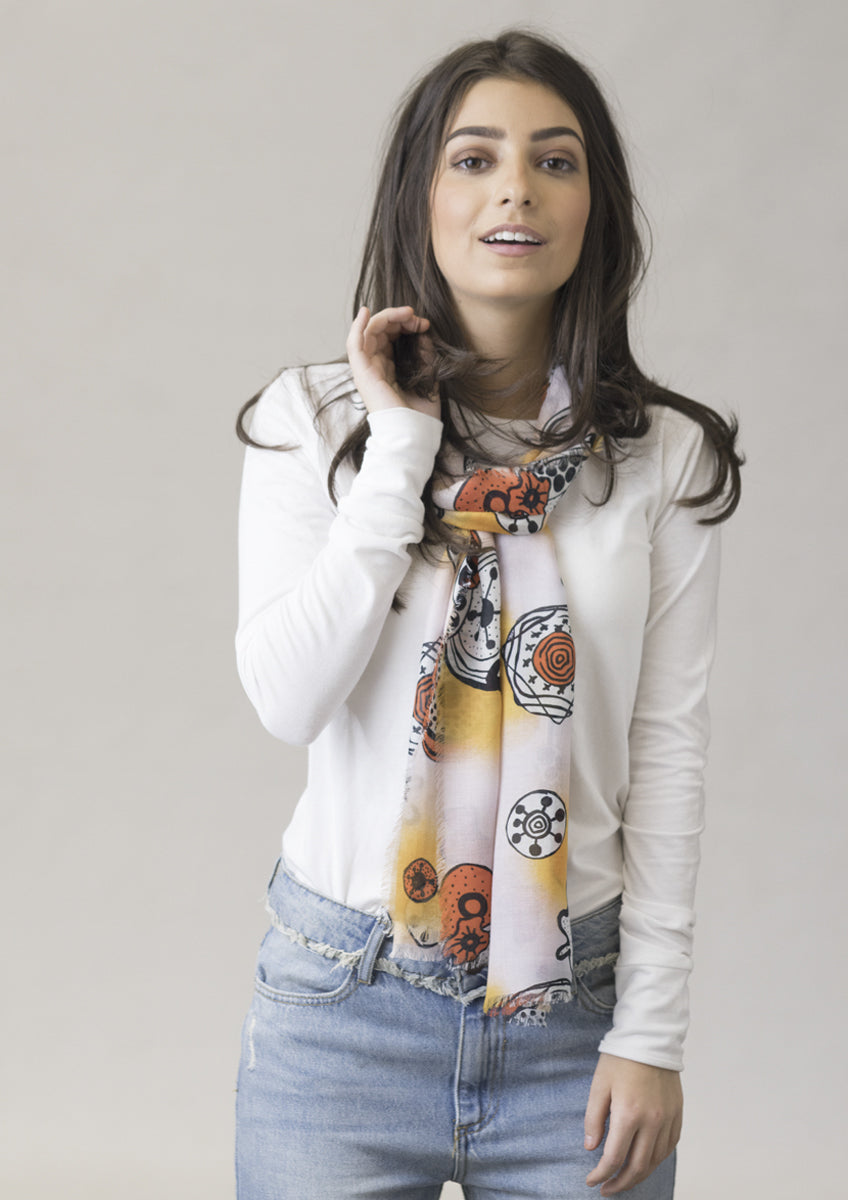 patterned sunshine luxury cashmere modal scarf
