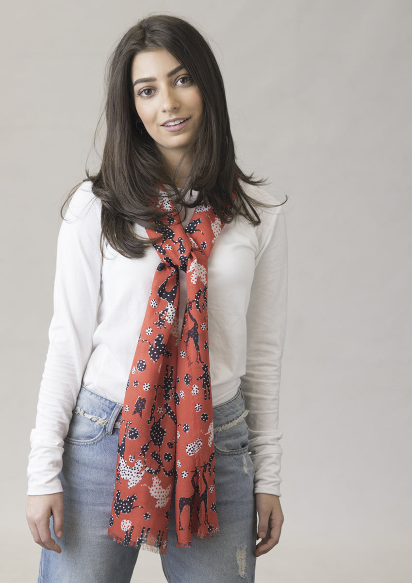 Contemporary animal printed designer cashmere modal scarf