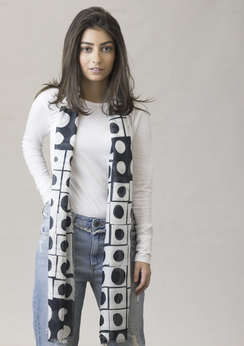 long black and white patterned cashmere modal scarf