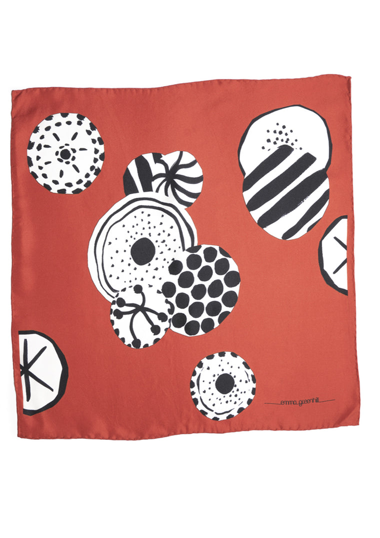 Hannah, print in red, black & white, men's silk pocket square