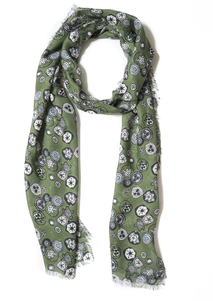 Graphic print on olive green, cashmere modal scarf