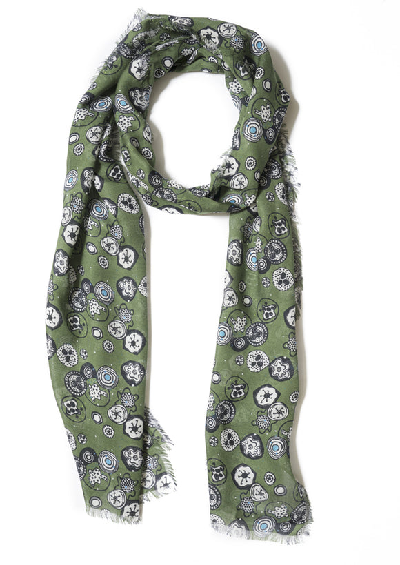 Designer patterned cashmere modal long scarf