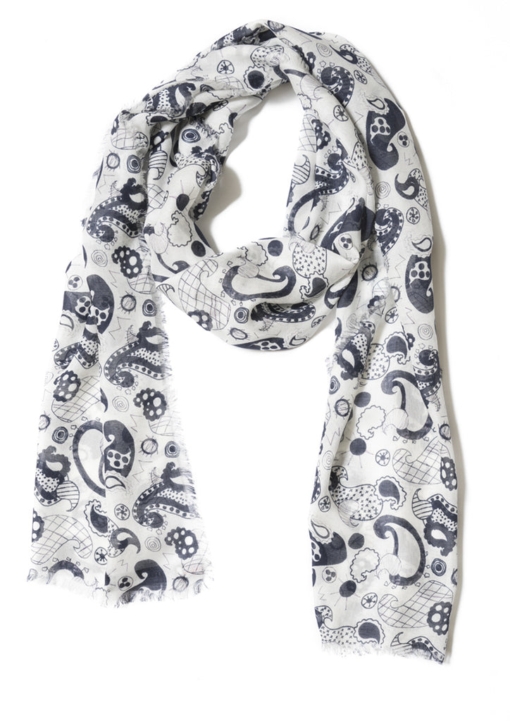 Black and white Paisley design on cashmere modal scarf