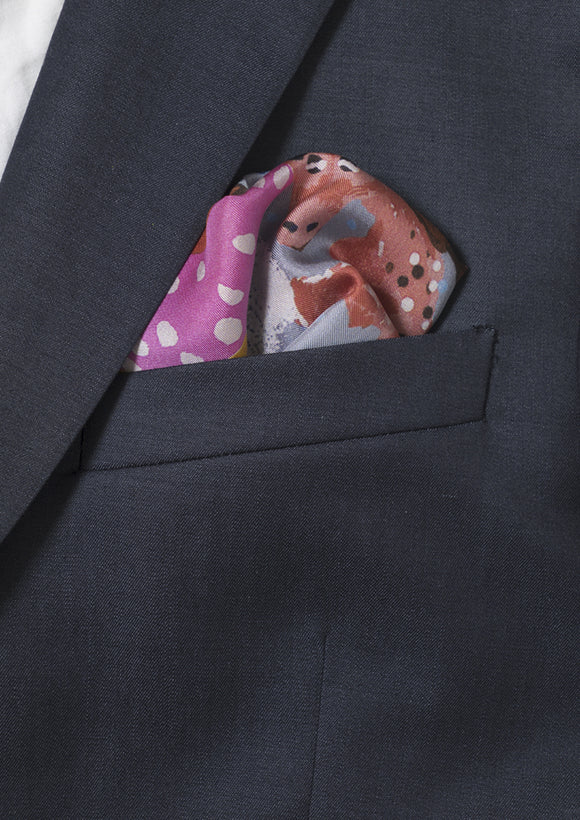 animals printed grey, men's silk pocket square