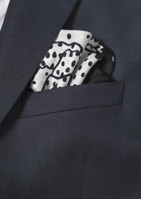 Animals and dots, black and white, men's silk pocket square