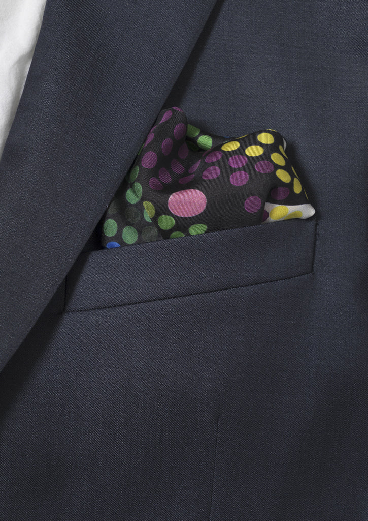 rainbow print designer luxury men's silk pocket square