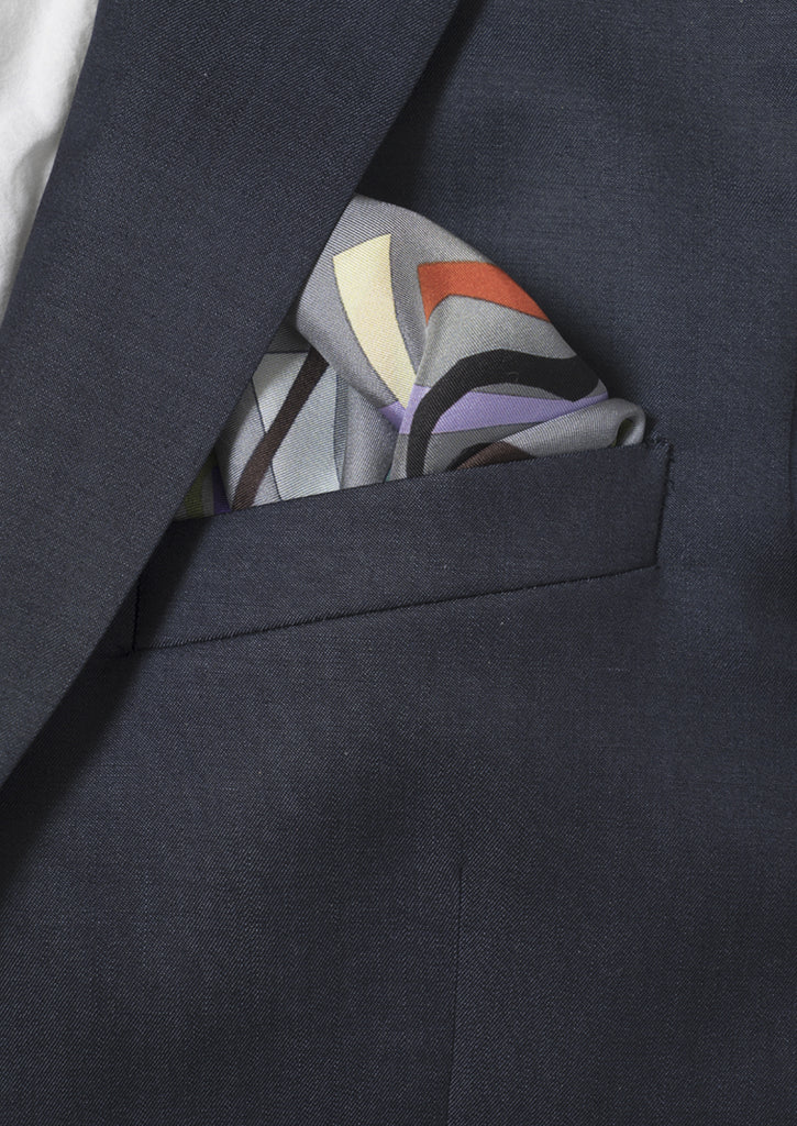 Charleston print silk twill pocket square with hem roll edge