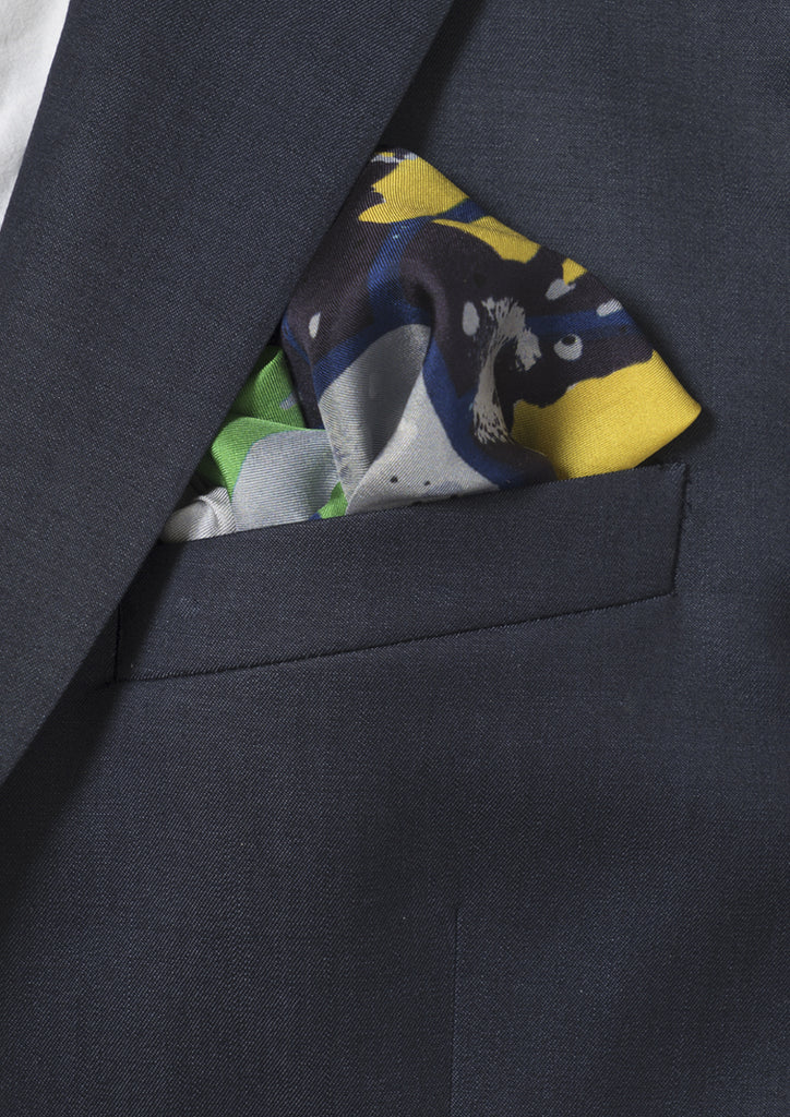 patterned pavement, designer silk twill pocket square