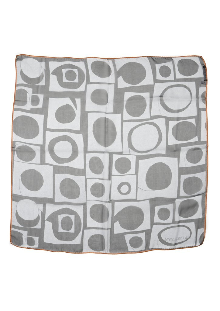 Grey Squares on Black Silk Chiffon Scarf