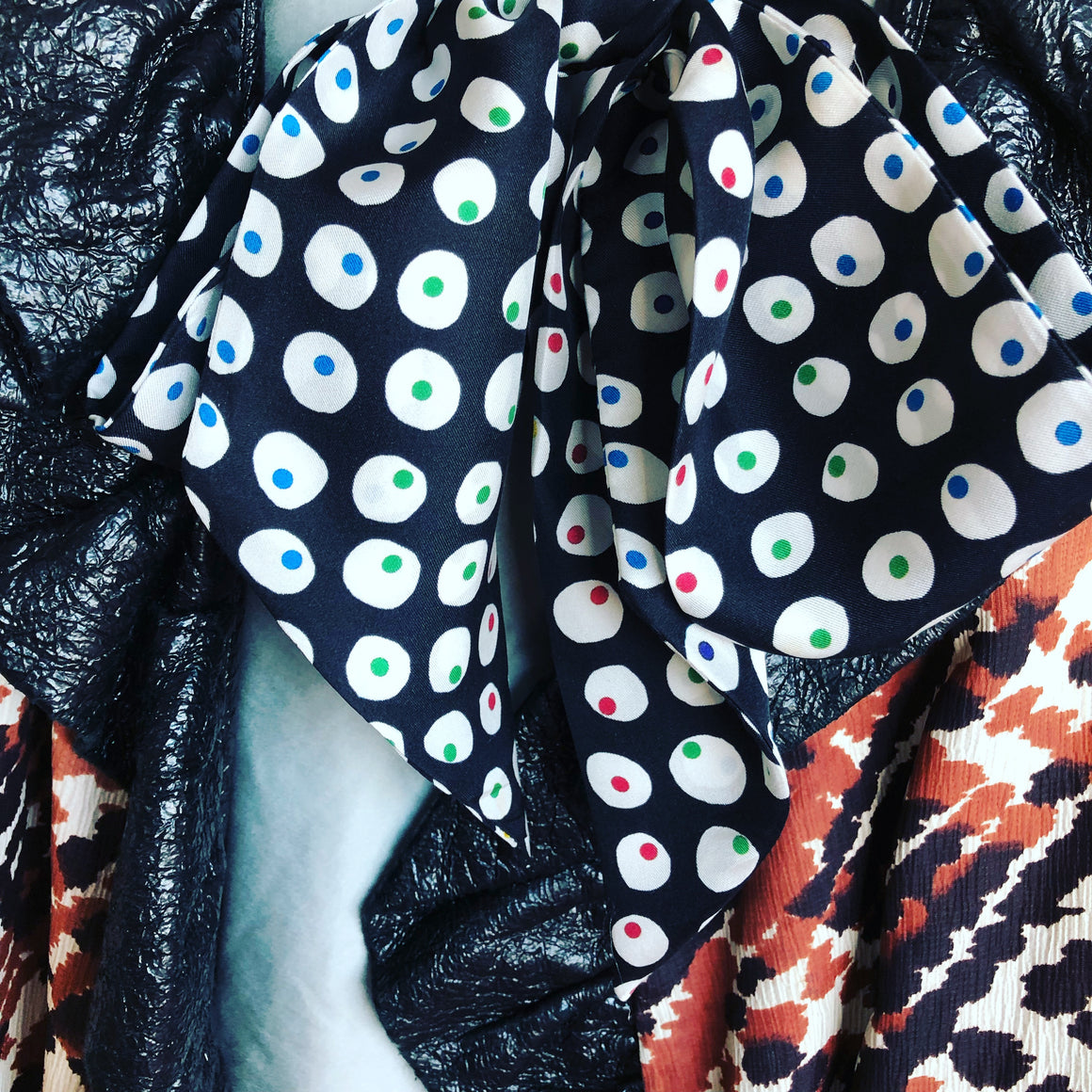 'All Eyes' Skinny Silk Printed Scarf