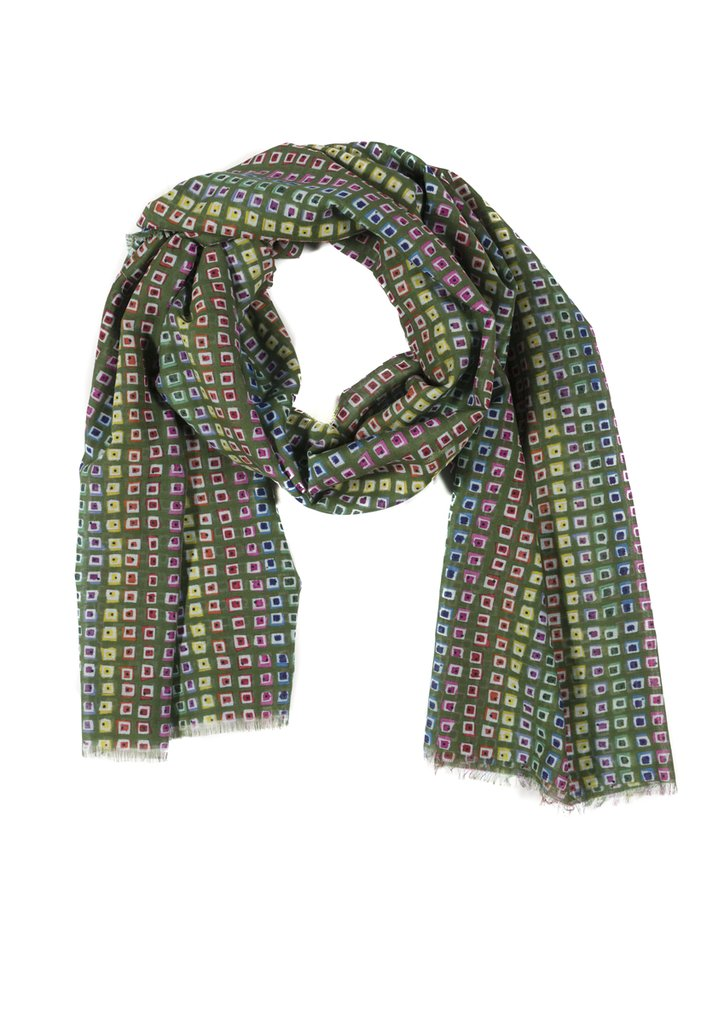 Olive Rainbow Silk Cotton Scarf