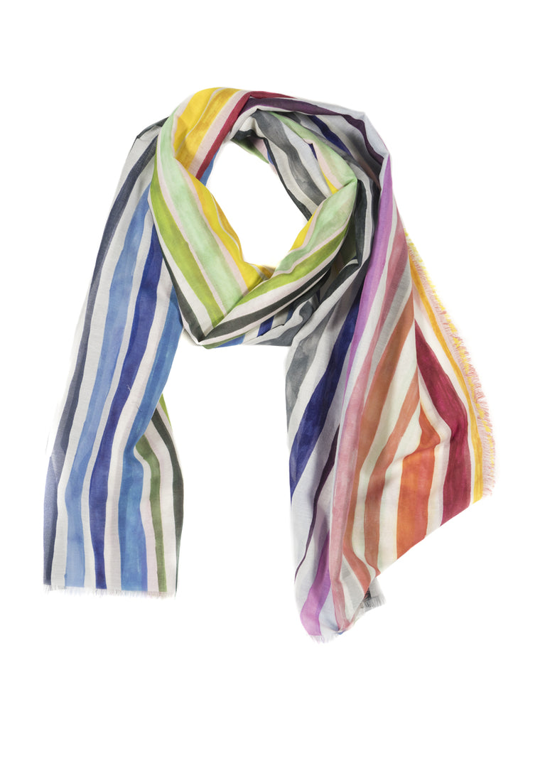 Rainbow Stripes Silk Cotton Scarf