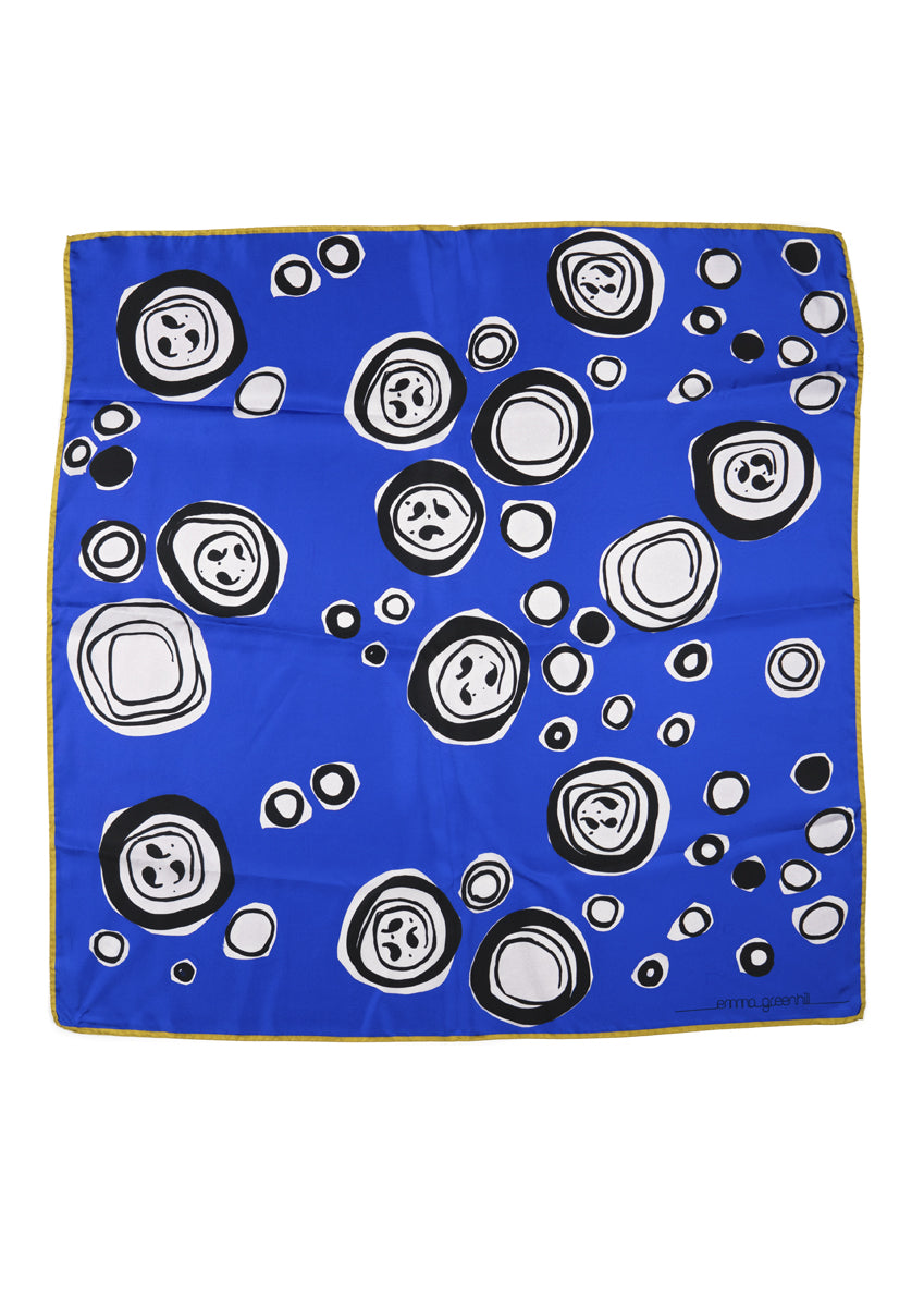 Royal Blue Faces Large Square Silk Scarf