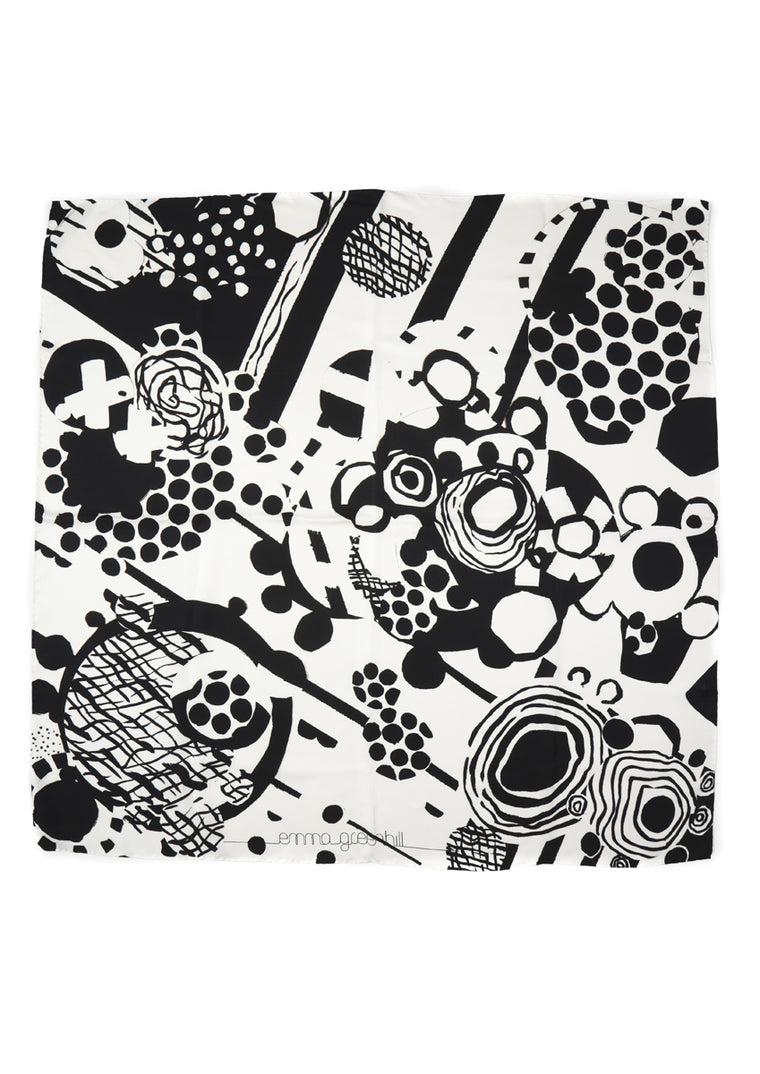 Black and White Crossover Large Silk Scarf