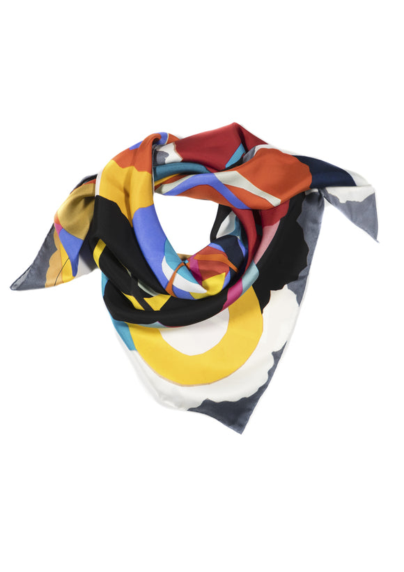 Waltz on Grey Floral Square Silk Scarf