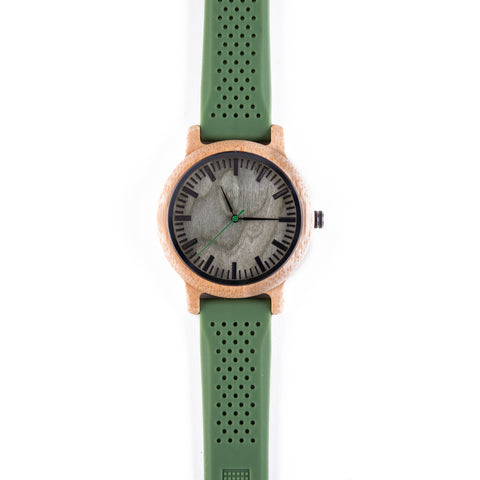 Dartmoor •  Wooden Watch with a Green Silicone Strap