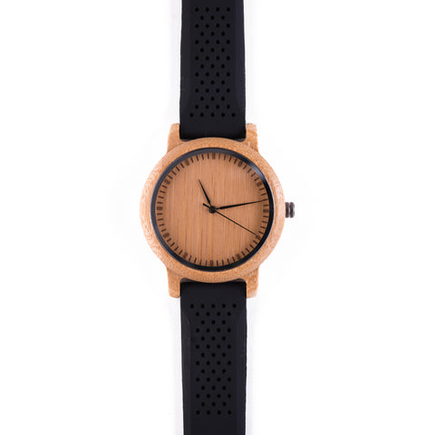 Eclipse • Wooden Watch with a Black Silicone Strap