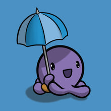 Cute cartoon of Gerald with his blue umbrella, looking delighted at the rainy weather
