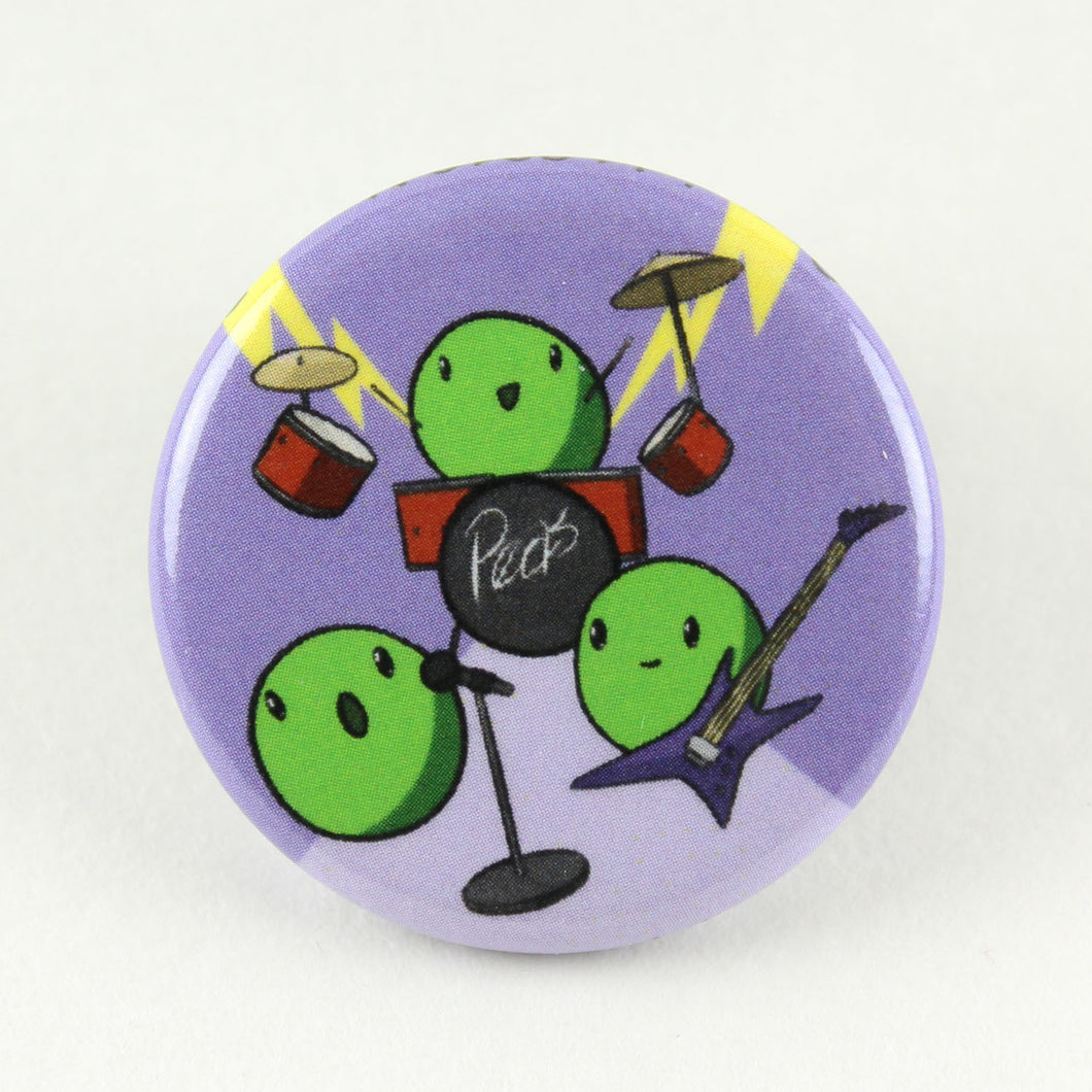 Button pin featuring the world famous pea band, The Peatles