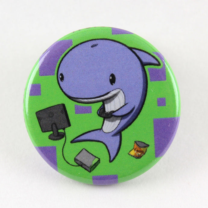 Gamer Whale button pin