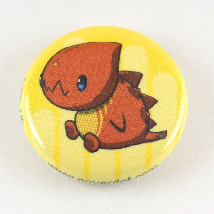 Magnet button featuring a squat little red monster with big teeth and spikes on his back.  Careful with your fingers, he bites