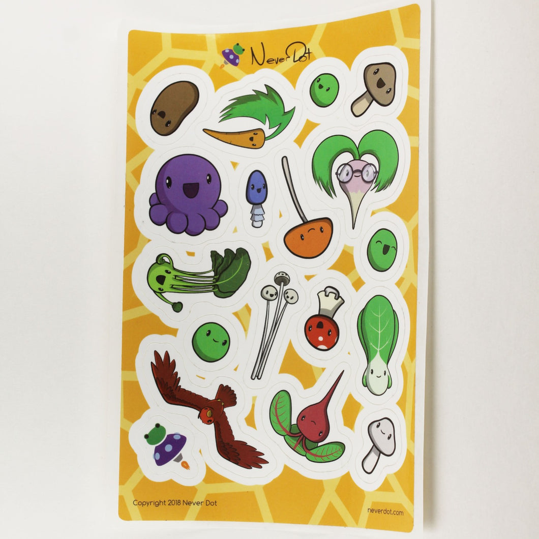 Giant sticker sheet packed with vegetable goodness... mmm... please buy me, I'm healthy for you!