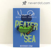Peater at Sea enamel pin with awesome card back and Peater wearing a silly little sailor's hat