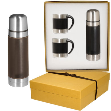 Empire (TM) Leather-Stainless Coffee Cup and Thermos Set-mijuprint-mijubuy-미주프린트-미주바이