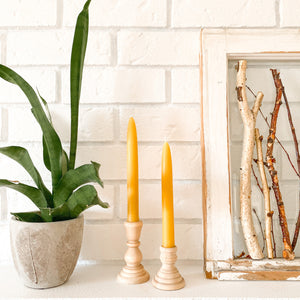 "Handmade Beeswax 8"" Taper Candles"