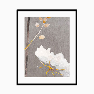 White Flower on Medium Gray - Objects of Interest