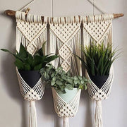 Macrame Wall Hanging Triple Plant Holder