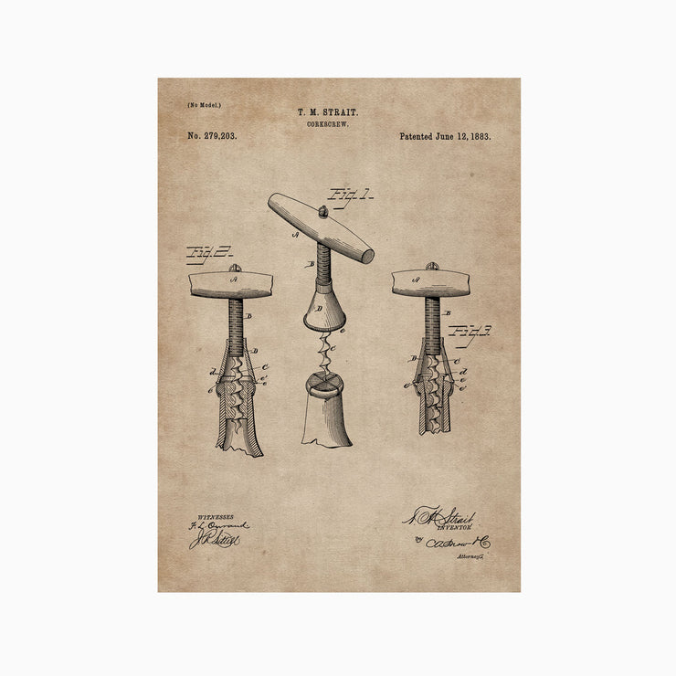 Patent Document of a Cork Screw - Objects of Interest